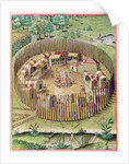 The Fortified Town of Pomeiooc by engraved by Theodore de Bry