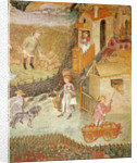 The Month of August, detail of a farm by Bohemian School