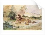 A Lion in the Desert by Ferdinand Victor Eugene Delacroix