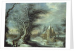 Winter Landscape with a Woodcutter by Gysbrecht Lytens or Leytens