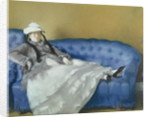 Madame Manet on a Blue Sofa by Edouard Manet