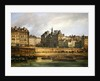Hotel de Ville and embankment, Paris by Guiseppe Canella