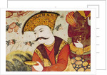 Shah Abbas I and a Courtier offering fruit and drink by Persian School