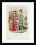 Fashion plate showing hats and dresses by French School