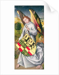 Angel holding a shield with the heraldic arms of de Chaugy and Montagu families with the two leopards of the de Jaucourt family by Rogier van der Weyden