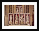 View of the panels of the closed altarpiece, depicting the Annunciation and saints by Rogier van der Weyden