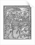 October, sowing, ploughing and threshing, Libra by Pierre Le Rouge