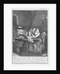 Heloise and Abelard in their study by engraved by Noel Le Mire