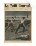 Fighting a duel with whips by French School