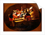 Monkeys dressed as soldiers playing cards and carousing by David the Younger Teniers