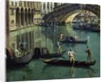 Gondoliers near the Rialto Bridge, Venice by Canaletto