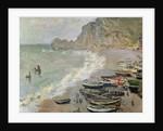 Etretat, beach and the Porte d'Amont by Claude Monet
