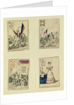 Four playing cards commemorating the heroes of July 1830 by French School
