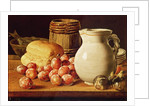 Still Life with plums, figs, bread and fish by Luis Egidio Melendez