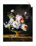 Flowers in a blue vase by Anne Vallayer-Coster