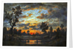 Landscape at sunset by Theodore Rousseau