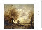 Fishermen moored at a bank by Jean Baptiste Camille Corot