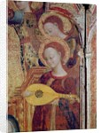Detail of angel musicians from a painting of the Virgin and Child surrounded by six angels by Sassetta