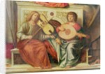 Detail of angel musicians from a painting of the Virgin and saints by Giovanni Battista Cima da Conegliano