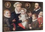 Portrait of a family: parents with their children and ancestors by Frans Menton d'Alkmaar