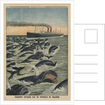 A shoal of whales attacking a liner by French School