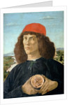 Portrait of a young man holding a medallion of Cosimo I de' Medici ('The Elder') by Sandro Botticelli