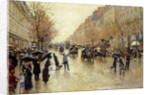 Boulevard Poissonniere in the Rain by Jean Beraud