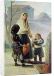 A Woman and two Children by a Fountain by Francisco Jose de Goya y Lucientes