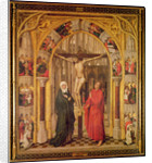 Christ on the Cross, with the Virgin Mary and Saint John under an archway with Gothic tracery leading to a church, central panel from the Redemption Triptych by Vrancke van der Stockt