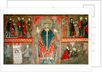 Altar Frontal depicting Saint Peter seated with crozier and four scenes from his life by Workshop of Lleida