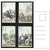 Four cards from a pack illustrated with propaganda scenes from the 1830 Revolution, Paris by French School
