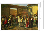 Horses in a Courtyard by the Bullring before the Bullfight, Madrid by Manuel Castellano