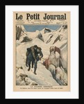 An heroic round, an Alpine postman rescuing a traveller stuck in the snow by French School