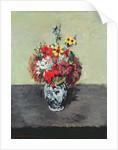 Flowers in a Delft vase by Paul Cezanne