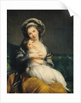 Self portrait in a Turban with her Child by Elisabeth Louise Vigee-Lebrun
