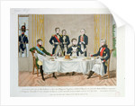 Dinner in Tilsit between Frederick William III of Prussia, Tsar Alexander I of Russia and Napoleon, who raises a toast to the Queen of Prussia by French School
