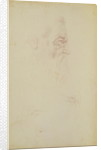 Sketch of a male head and two legs by Michelangelo Buonarroti