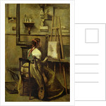 The Studio of Corot, or Young woman seated before an Easel by Jean Baptiste Camille Corot