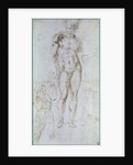 Study for Apollo standing nude with a cloak draped over his shoulders and the figure of a man carrying a burden by Michelangelo Buonarroti