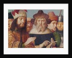 Triptych of the Crucifixion, left panel: Jewish judges, Roman soldiers by Gerard David