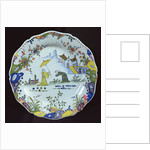 Plate, decorated in the Chinoiserie style, created in Rouen by French School