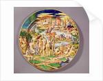 Large platter depicting the Judgement of Paris, made at the Atelier de Faenza by Raphael