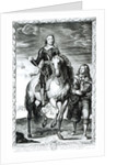 Equestrian portrait of Oliver Cromwell engraved by Pierre Lombart by Sir Anthony van Dyck