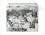 Battle in Jamaica between Christopher Columbus and Francisco Poraz, 1504 by Theodore de Bry