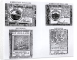 A colonial six dollar bill of 1776 and an American fifty dollar bill of 1779 by English School