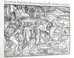 Indian Natives Making Fire After Hunting by Jacques Le Moyne