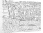Detail of River Thames and St Paul's Cathedral from Civitas Londinium by Ralph Agas