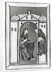 Hildegard of Bingen receiving the Light from Heaven by German School