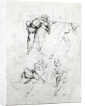 Study of a man blowing a trumpet in another's ear, and two figures in conversation by Leonardo da Vinci