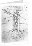 Vertically standing bird's-winged flying machine by Leonardo da Vinci